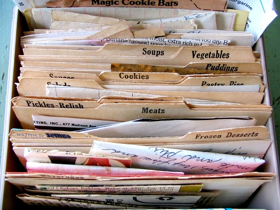 vintage recipes, vintage recipe box, family recipe