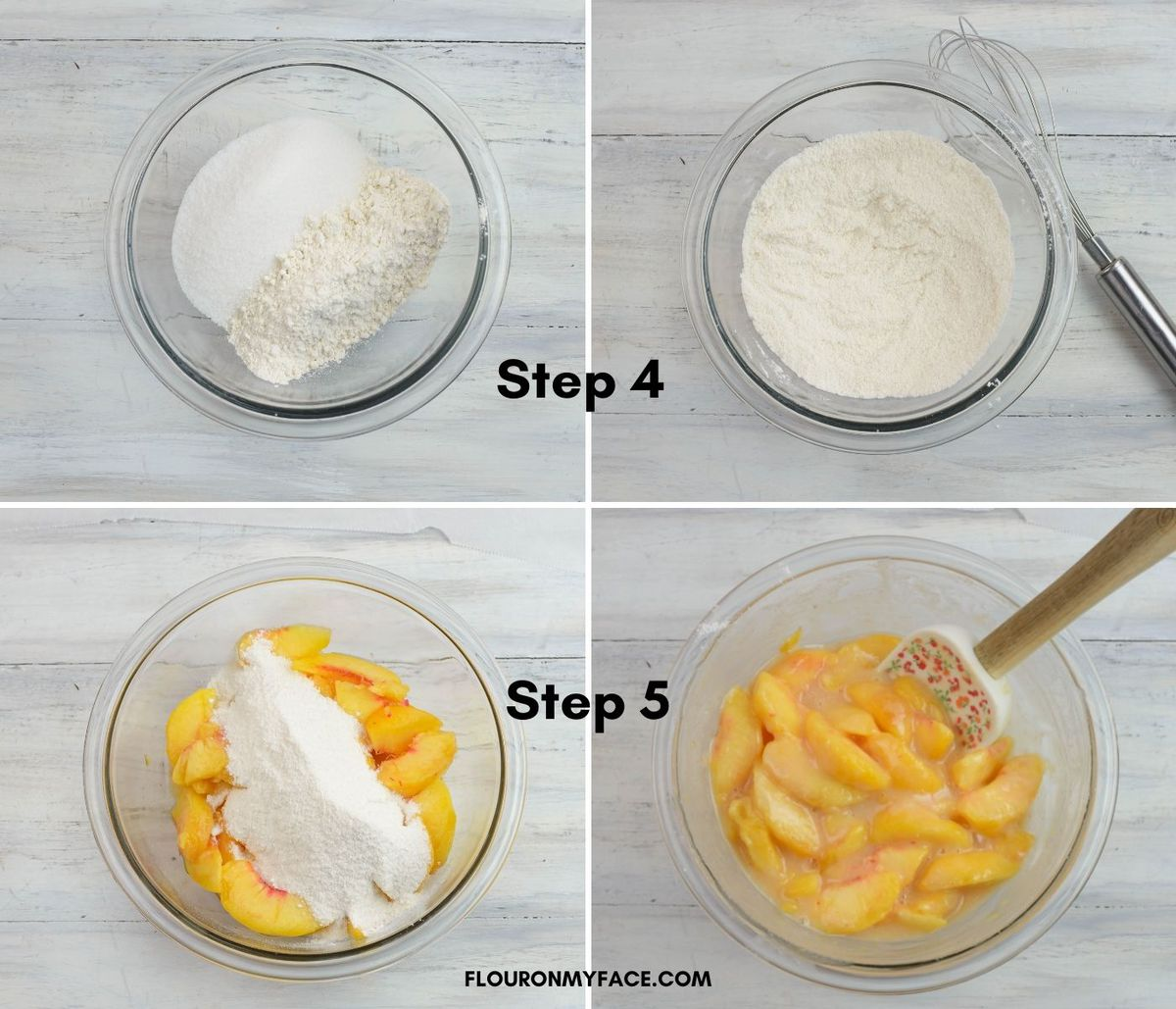 4 images showing the steps of mixing peach pie filling.