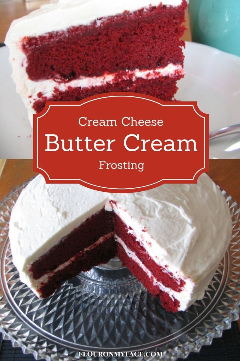 Cream Cheese Butter Cream Frosting recipe is the best red velvet cake frosting  via flouronmyface.com