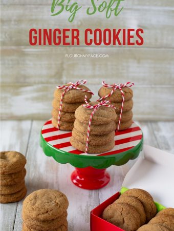 Big Soft Ginger cookies on a holiday cake stand for a Christmas cookie exchange or for Santa