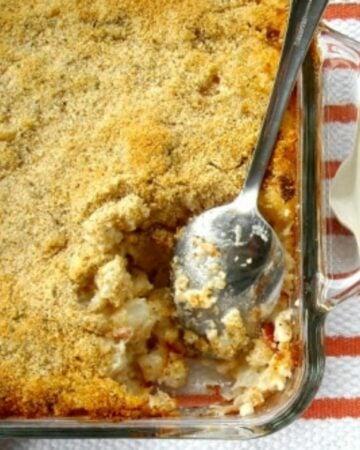 Creamy Ranch Hash Brown Casserole in a baking dish.