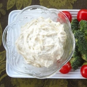 a bowl of ranch veggie dip served with fresh vegetables