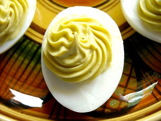 The Best Tangy Deviled Egg recipe you will ever make for Thanksgiving Day Appetizer via flouronmyface.com