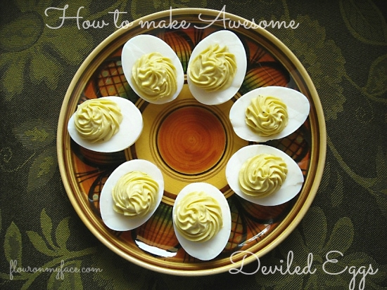 How to make Tangy Deviled Eggs via flouronmyface.com