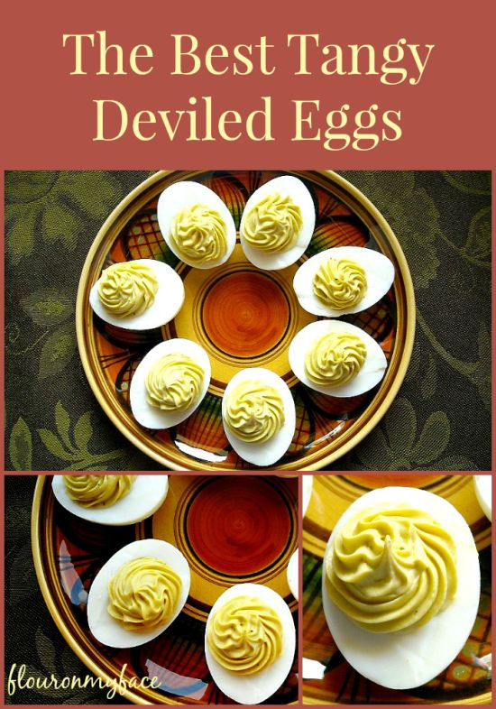 How to make the Best Tangy Deviled Eggs and a secret tip for smooth filling via flouronmyface.com