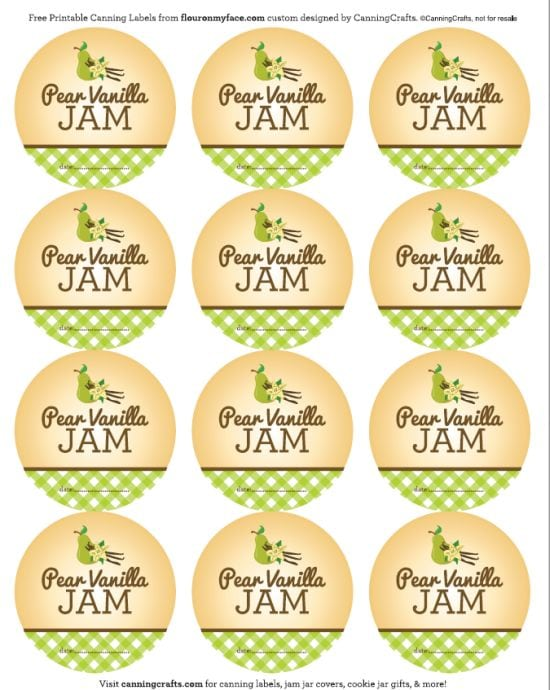 FREE Printable Pear Vanilla Jam canning labels via flouronmyface.com