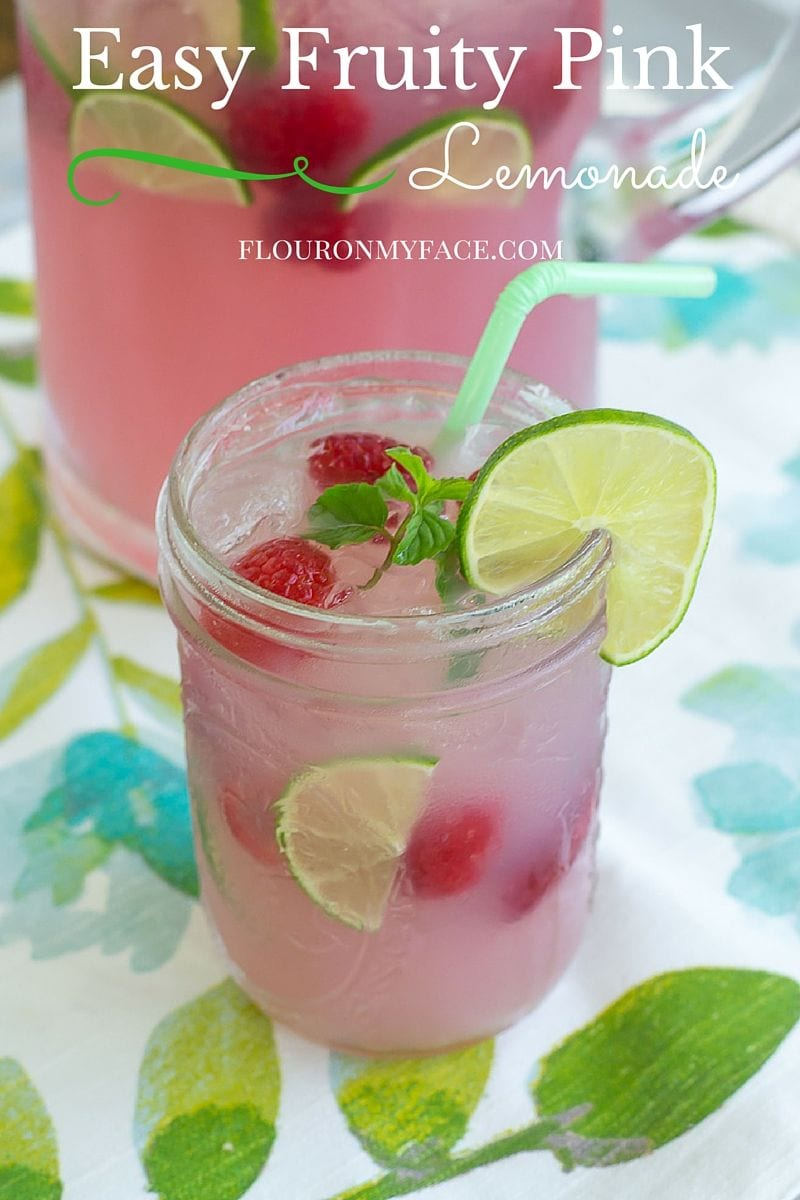 Easy Pink Lemonade recipe perfect for your 4th of July celebration or anytime your need a bbq beverage recipe via flouronmyface.com