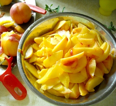 sliced peaches for a day of jam making Peach and Jalapeno Jam