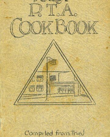 South PTA Vintage Cookbook cover. Vintage recipe Fruit Cocktail Pudding Cake