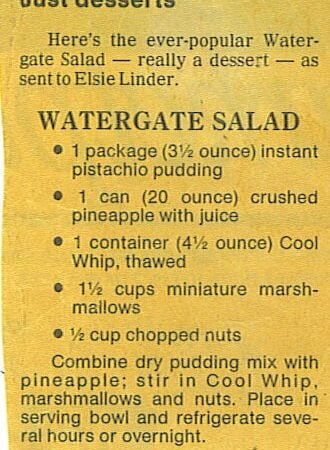 Old fashioned watergate salad, news paper clipping, old recipes, vintage recipe