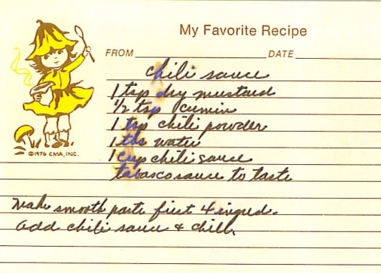 Vintage Chili Sauce recipe from old family recipe box