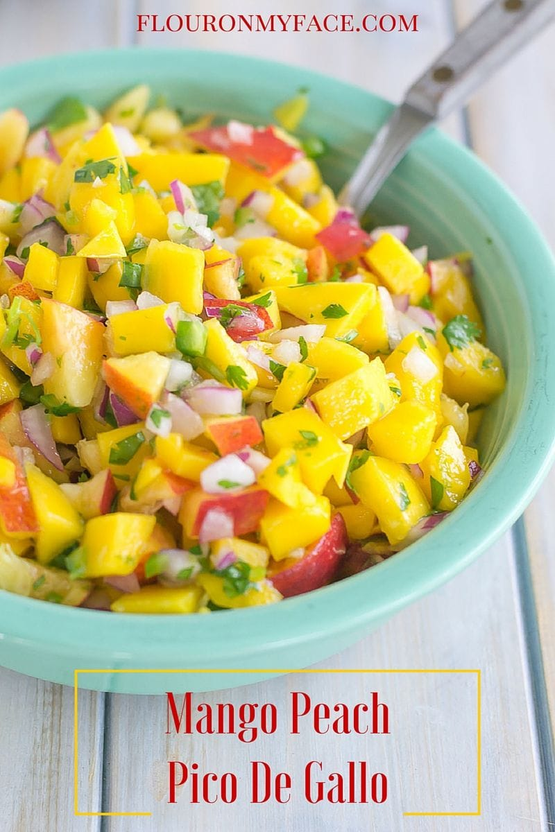 Mango Peach Pico de Gallo recipe via flouronmyface.com