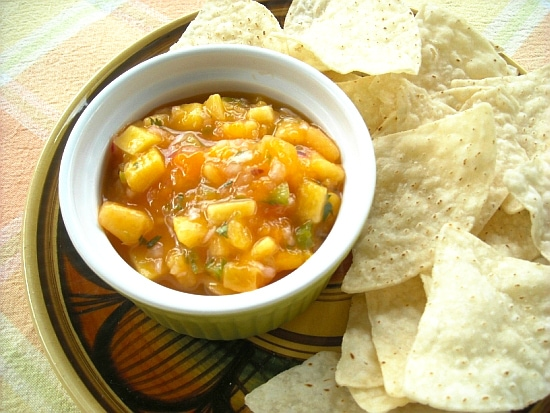 fruit salsa recipe, mango salsa, peach salsa, mango peach salsa recipe, Florida Fruit, Florida Mangoes