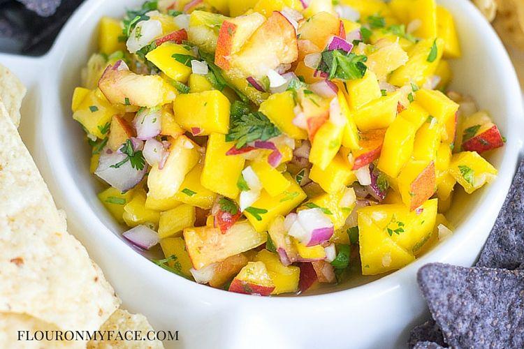 Mango Peach Salsa recipe via flouronmyface.com
