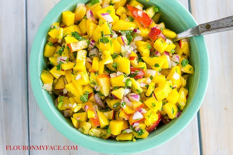 Mango and Peach Salsa recipe via flouronmyface.com