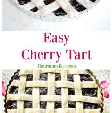 Easy Cherry Tart recipe via flouronmyface.com