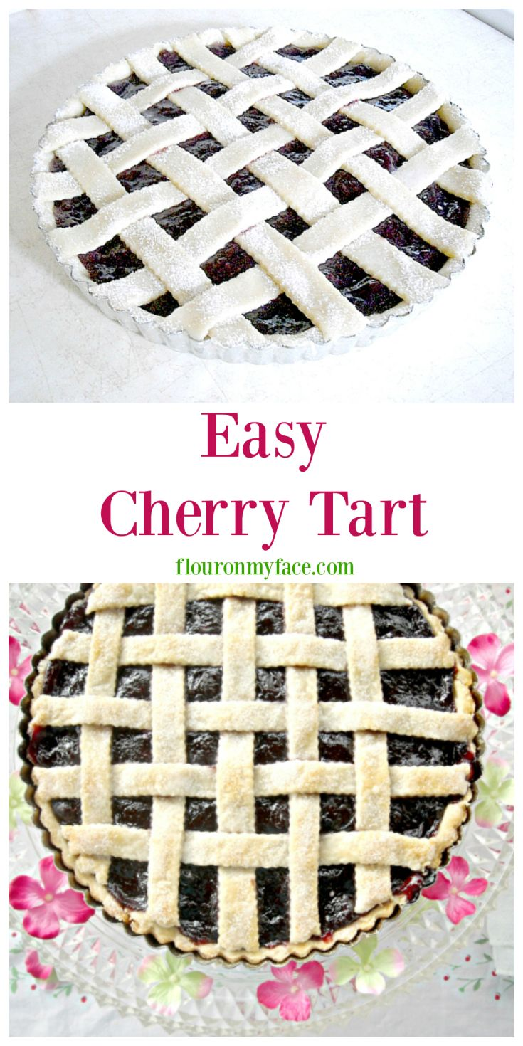 Easy Cherry Tart recipe via flouronmyface.com