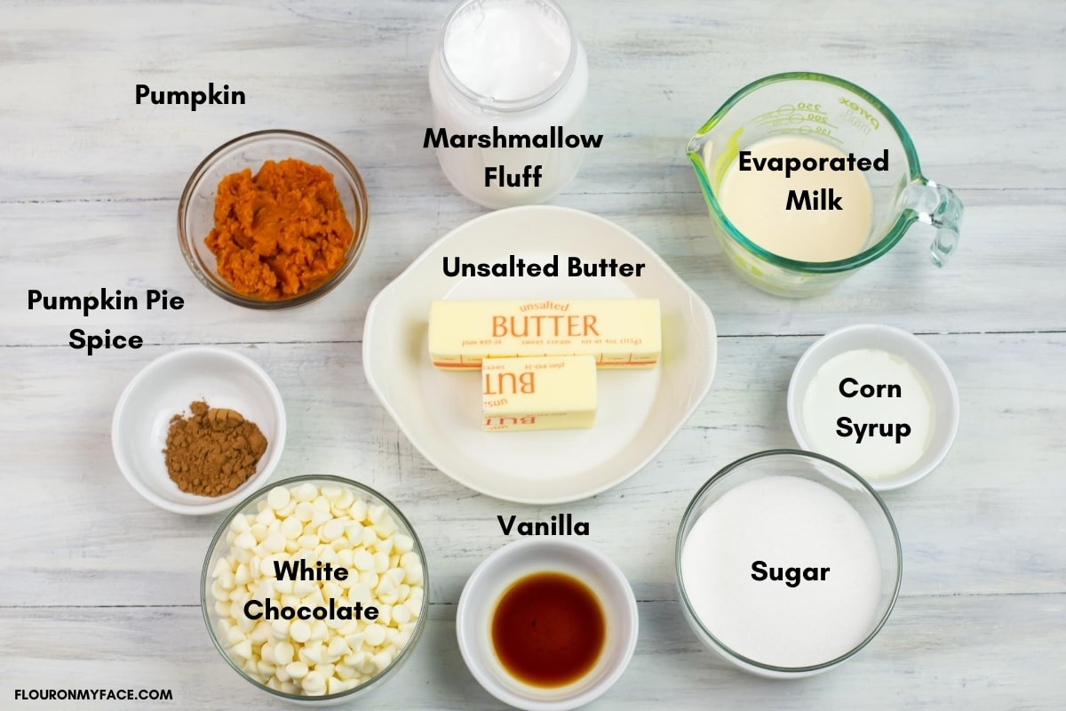 White Chocolate Pumpkin Fudge ingredients in bowls and labeled by ingredient