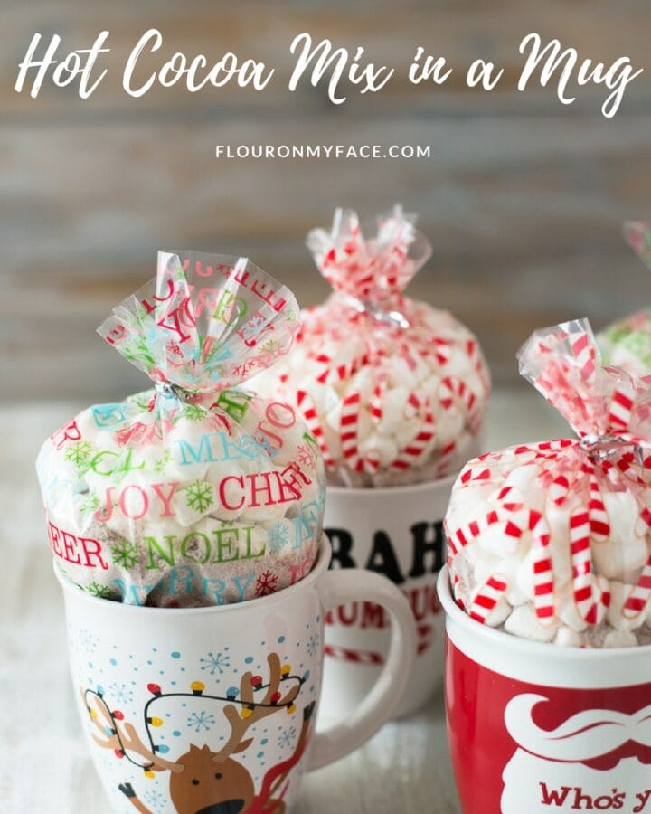 Homemade Christmas Gifts Peppermint Hot Cocoa Mix in a Mug recipe and instructions