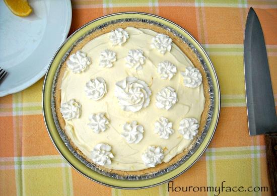 No-Bake Orange Curd Creme Fraiche Pie recipe via flouronmyface.com