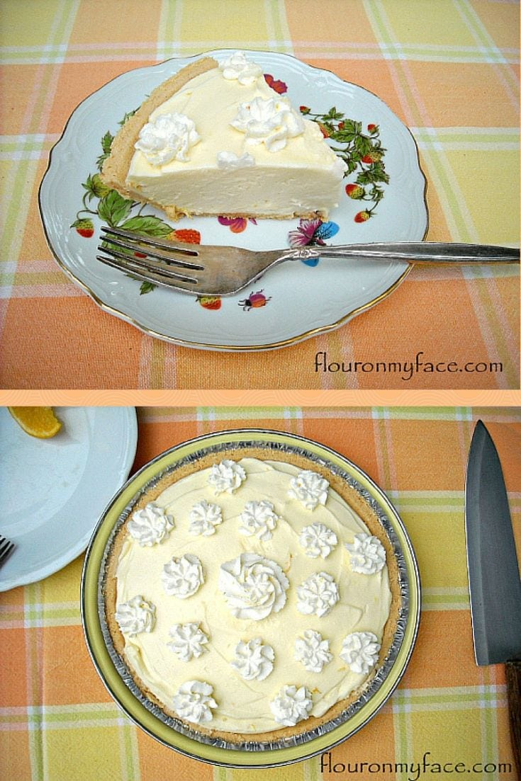 No-Bake Orange Curd Pie recipe via flouronmyface.com