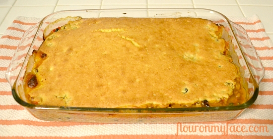 Tamale Pie in a 9 x 13 inch pan before serving