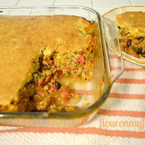 a serving of Tamale pie casserole