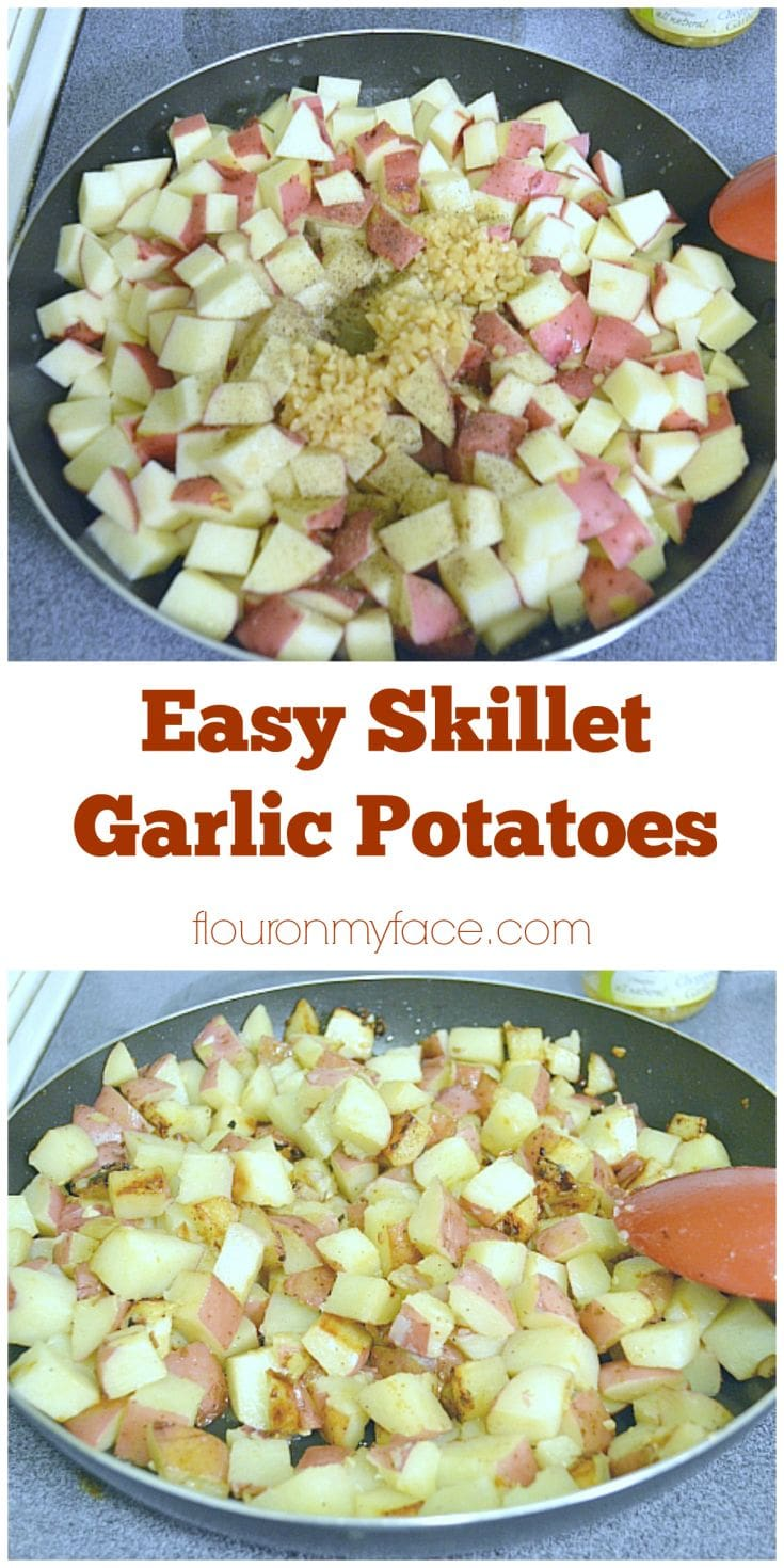Best BBQ Side Dish Recipe Garlic Potatoes are so easy to make in a skillet and are sure to become your families very favorite potato side dish recipe via flouronmyface.com