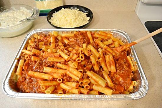 Baked Ziti add sauce