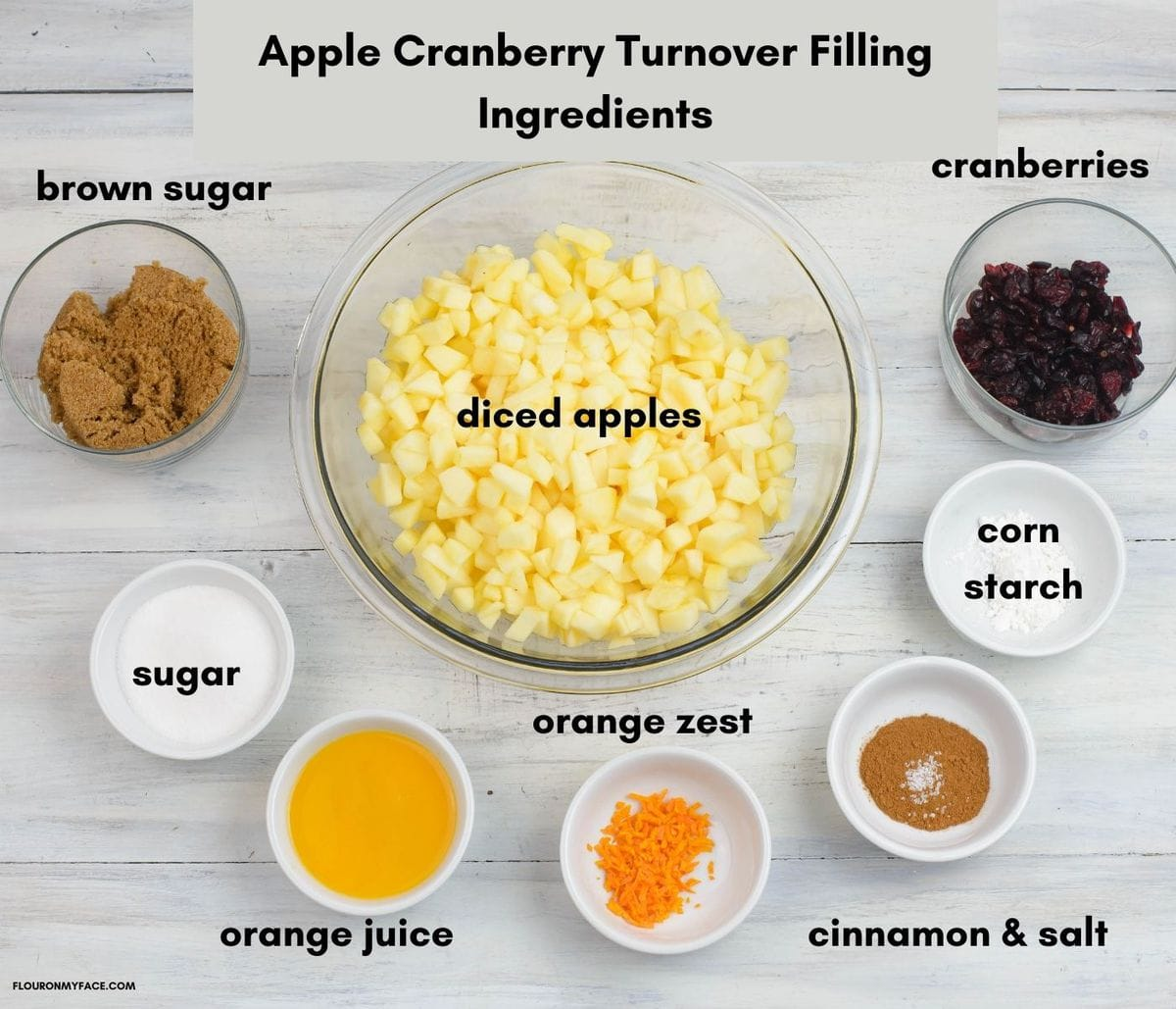 Apple and cranberry turnover fillin g ingredients in individual bowls.