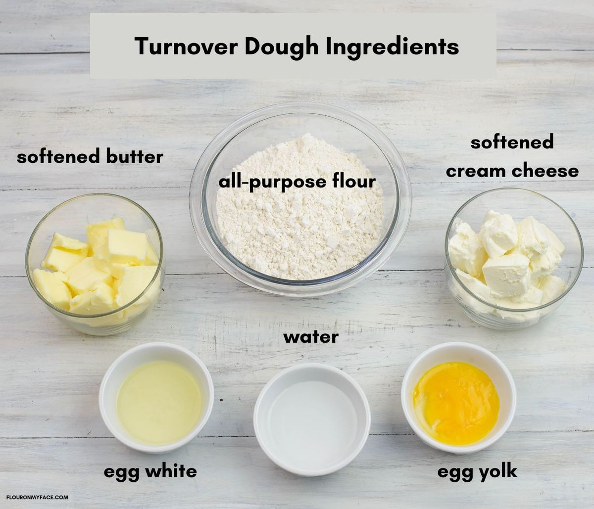 Apple turnover pastry dough ingredients in individual bowls.