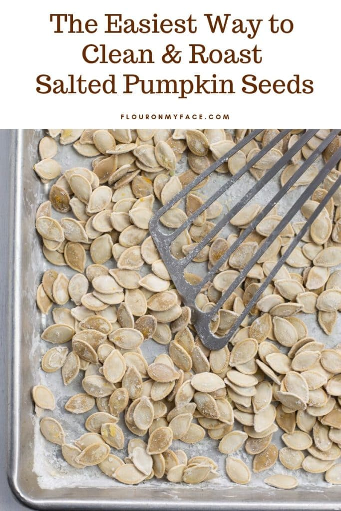 overhead photo of just roasted salted pumpkin seeds after they came out of the oven