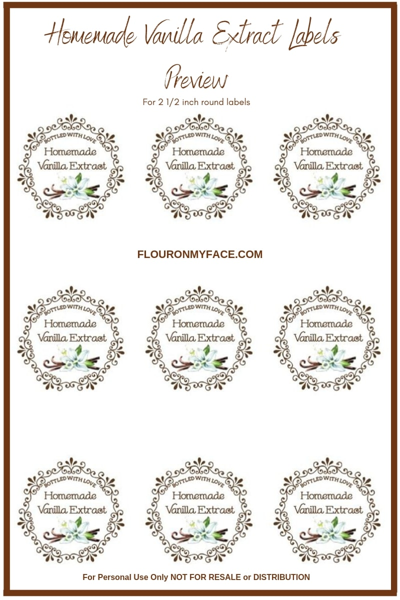 Preview image of a sheet of free homemade vanilla extract labels. Round labels will fit a 4 oz glass bottle perfect.