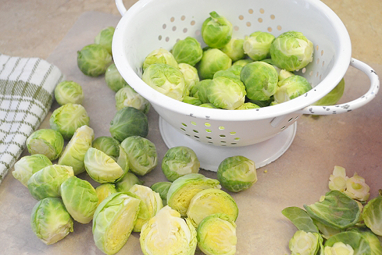 cleaning brussels sprouts, making roasted Brussels sprouts, vinaigrette, balsamic vinegar