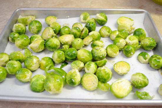 roasting vegetables, brussels sprouts, olive oil, salt and pepper.