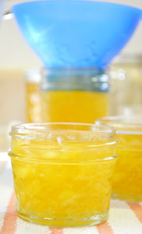 filling canning jars, making jam,