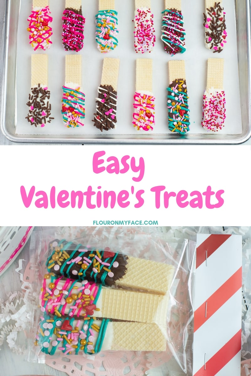 Valentine's Day Chocolate Dipped Wafer Cookies easy DIY for the kids