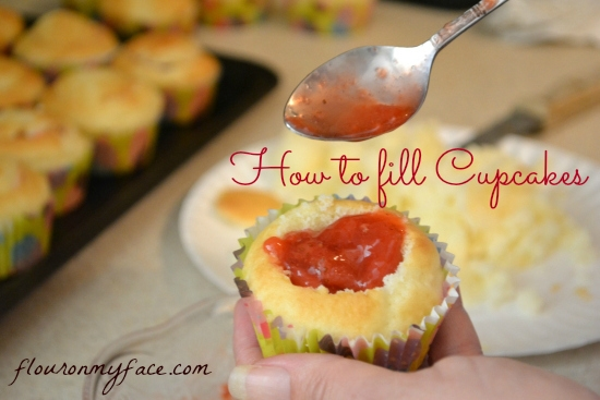 How to fill cupcakes with a homemade strawberry sauce filling.