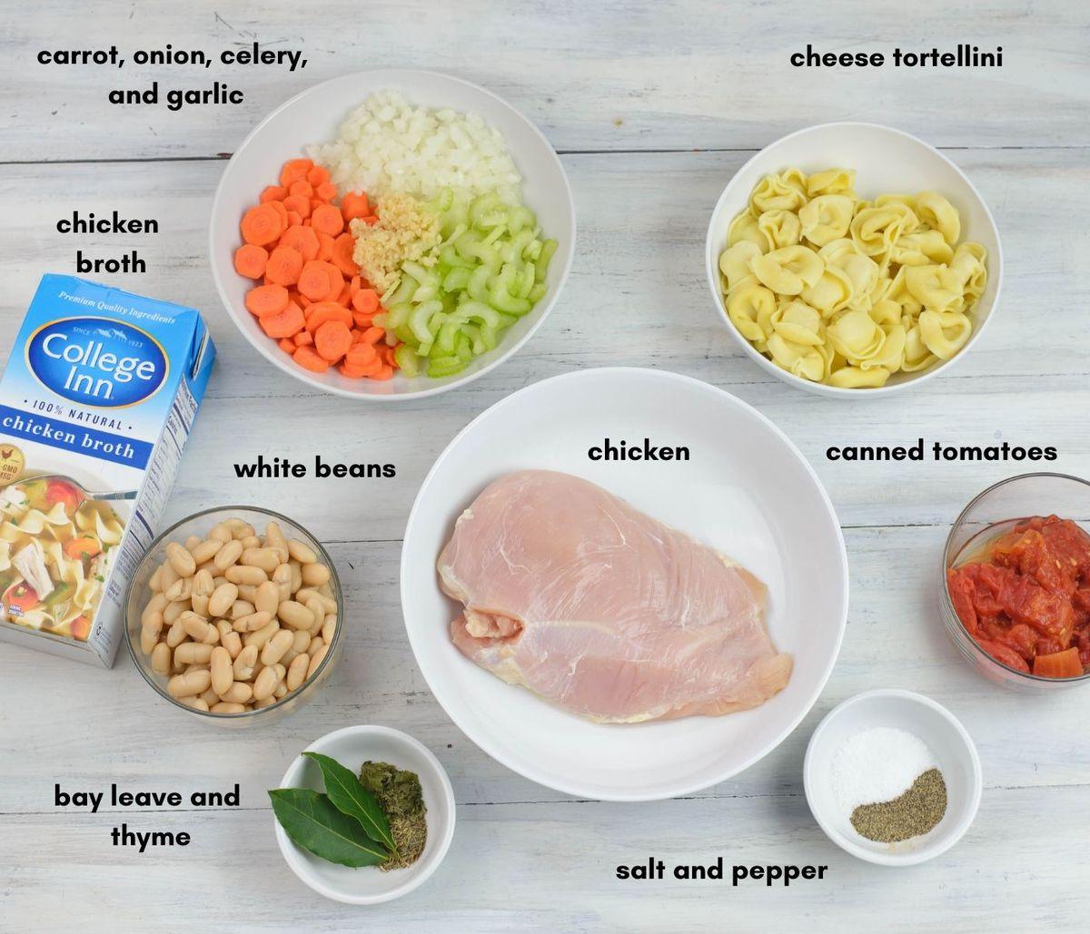 Chicken tortellini ingredients in individual bowls.