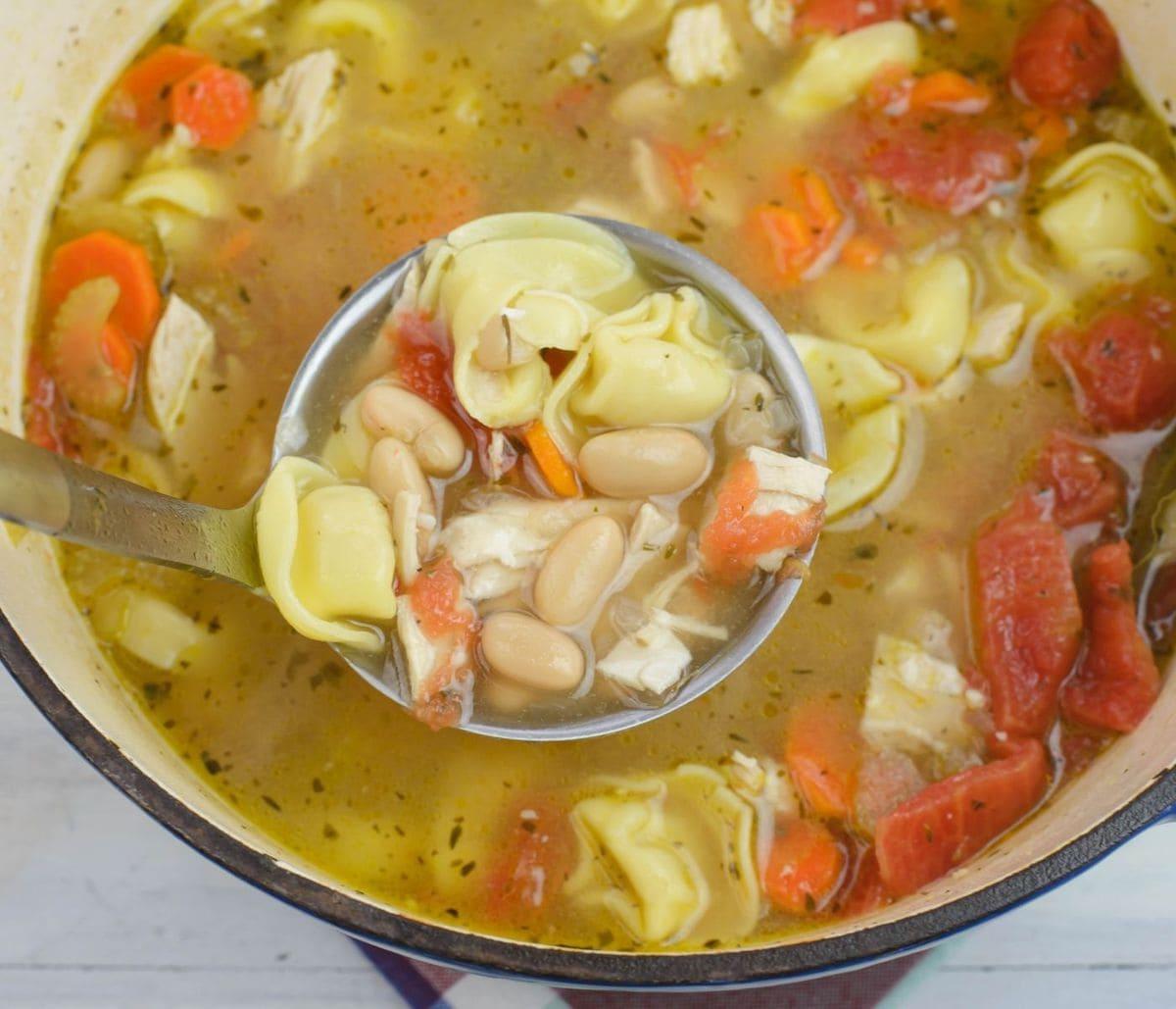 Closeup of a ladle full of soup.