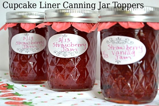 3 canning jars filled with homemade Strawberry Jam