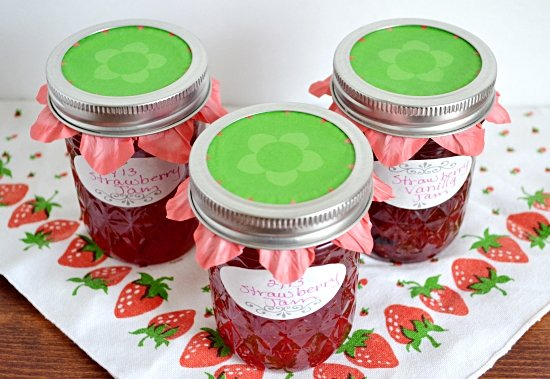 canning jars, toppers, cupcake liners, mason jars, strawberry jam
