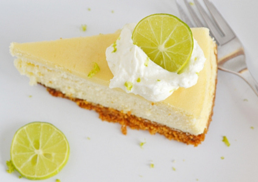 a single slice of homemade Key Lime Cheesecake