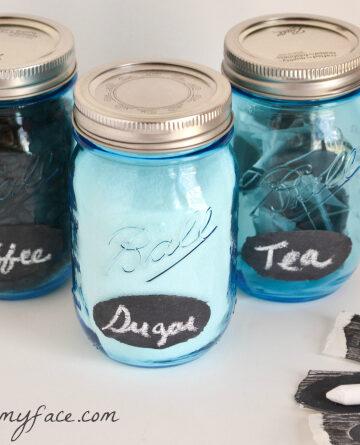 easy chalk labels, diy chalkboard labels, canning jar labels, Ball heritage Blue Canning Jars, organise pantry
