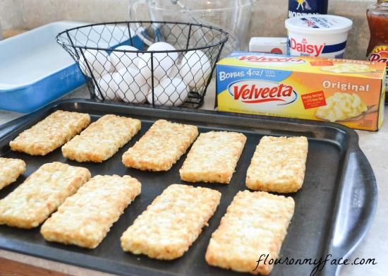 velveeta, breakfast, casserole, recipe, hash brown patties, sausage