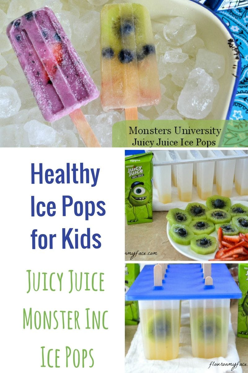 Healthy Ice Pops For the Kids Juicy Juice Monster Inc Ice Pops made with real fruit juice and fresh fruit and berries.
