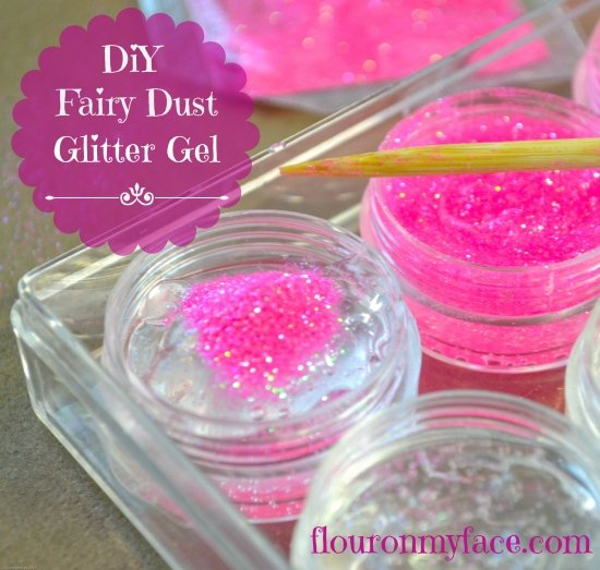 DIY Fairy Dust Glitter Gel recipe to make the fairies sparkle during a Fairy Birthday Party or Fairy themed tea party via flouronmyface.com