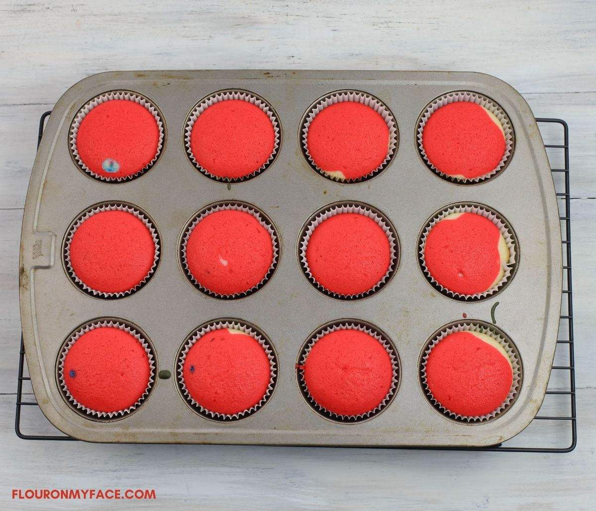 A cupcake pan after baking the cupcakes.