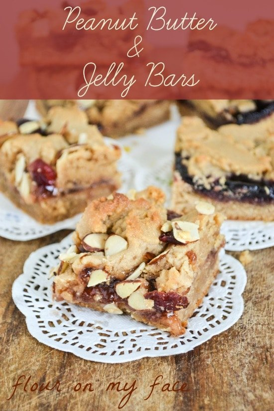 Peanut Butter and Jelly Bars recipe made with 2 flavors of jelly via flouronmyface.com