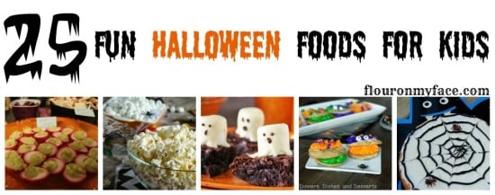 25 Fun Halloween Foods for the Kids to help you celebrate a spooky Halloween with the kids.